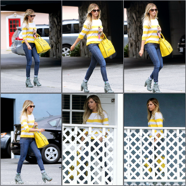 -   24/07/2013: Ashley se rendant aux bureaux de sa compagnie de production Blondie Girl Production à Los Angeles.   -