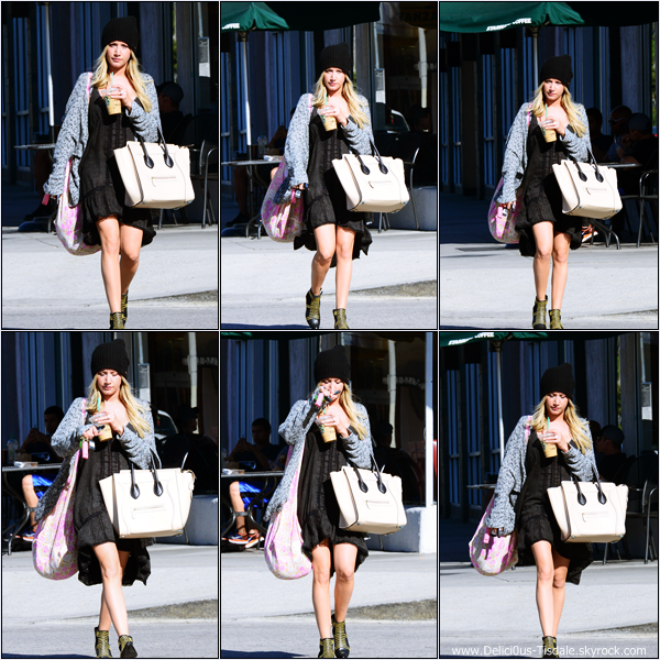 -   23/09/2013: Ashley arrivant/quittant le Starbucks dans Studio City.   -