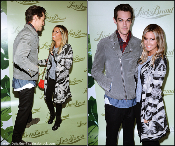 -   29/10/2013 : Ashley et son fiancé Christopher French assistant à l'ouverture du magasin Lucky Brand à Beverly Hills.   -