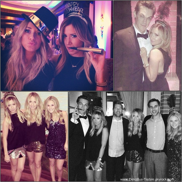 -   31/12/2013 : Ashley fêtant la nouvelle année en compagnie de son fiancé Christopher French et de quelques amis à l'hôtel Four Seasons à Beverly Hills.   -