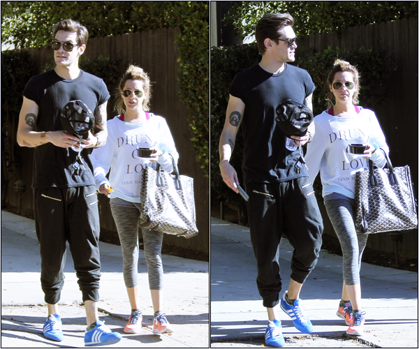 -   15/01/2014 : Ashley, son fiancé Christopher French et son entraîneur personnel faisant du sport dans West Hollywood.   -
