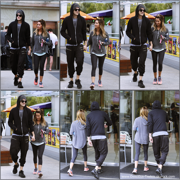 -   26/01/2014 : Ashley et son fiancé Christopher French arrivant à la salle de gym Equinox dans West Hollywood.   -