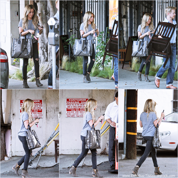 -   11/04/2014 : Ashley quittant le salon de coiffure Nine Zero One dans West Hollywood.   -