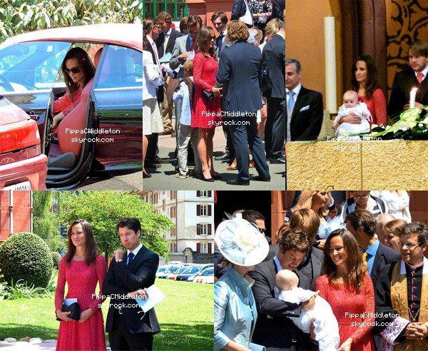 - 25/06/2011 : Pippa était en Suisse à Neuchâtel pour célébrer un baptême, qui n'est autre que son filleul : Tenue : Robe rouge en dentelle French Connection -