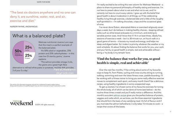 CANDID Octobre 2014 :  _________________________________________________  Pippa a rédigé un nouvel article pour le magazine Waitrose.