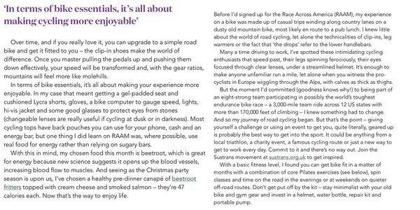 CANDID Novembre 2014 :  _________________________________________________  Pippa a rédigé un article pour The Waitrose sur le cyclisme.