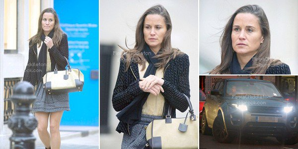 .   17.10.2015, Pippa a été vue avec une petite mine, alors qu'elle sortait de South Kensington Club, à Londres  .