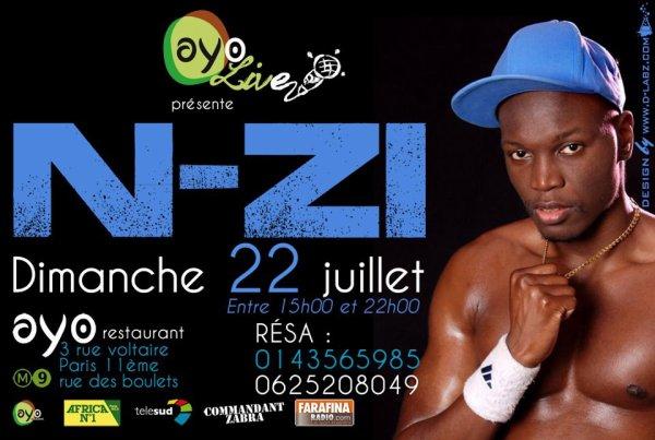 """N-ZI en live au """" AYO restaurent"""" le 22 JUILLET"""
