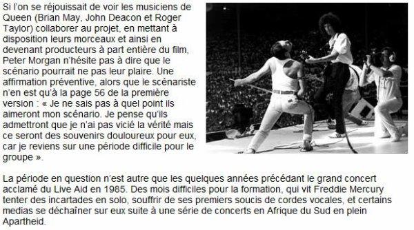 Un Film sur Queen & Freddie Mercury pour 2012 !