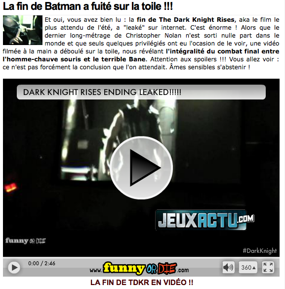 The Dark Knight Rises (News 07/17/12) - Fins originales ...