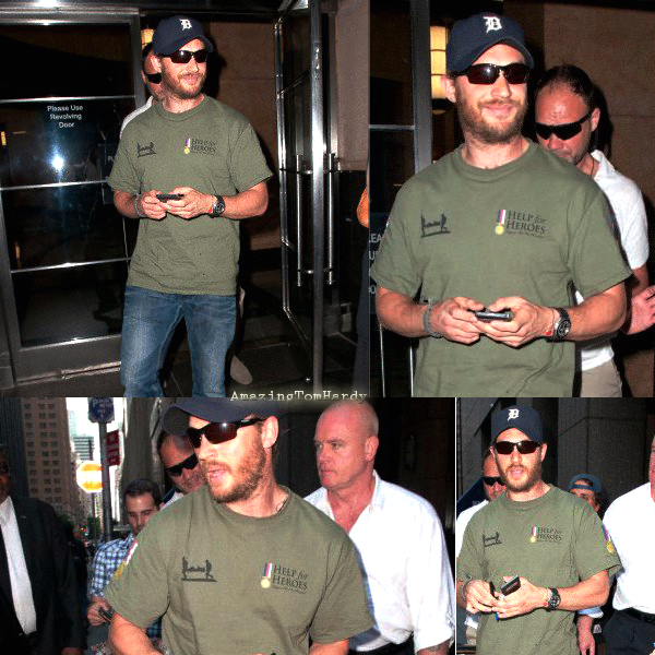 "Tom Hardy allant se préparer pour ""The Dark Knight Rises"" Q&A Session NYC"