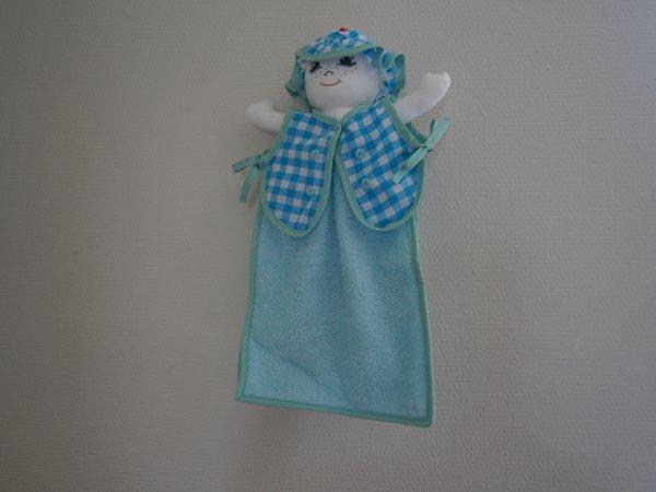 Poupée essuie main vichy bleu moyen carreaux serviette bleu ciel