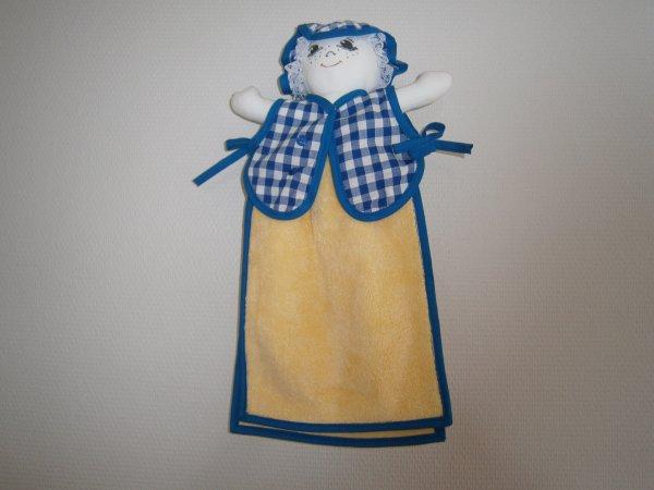 Poupée essuie main vichy bleu roy moyen carreaux serviette jaune