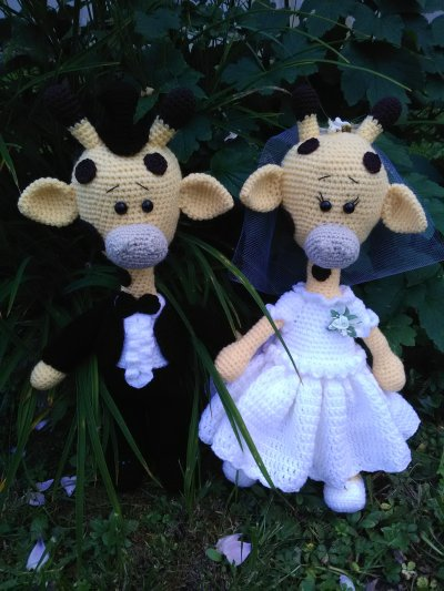 Couple de mariés girafes