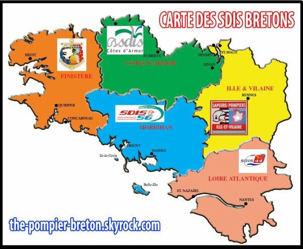 Ma carte des SDIS bretons