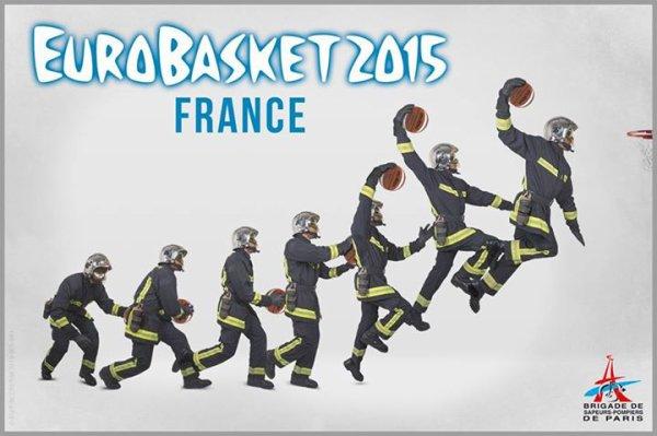 [#EuroBasket2015] Allez les Bleus !! Les sapeurs-pompiers de Paris encouragent l'équipe de France de Basketball !
