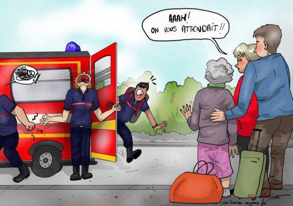 Quand les pompiers sont confondus avec des taxis rouges… !