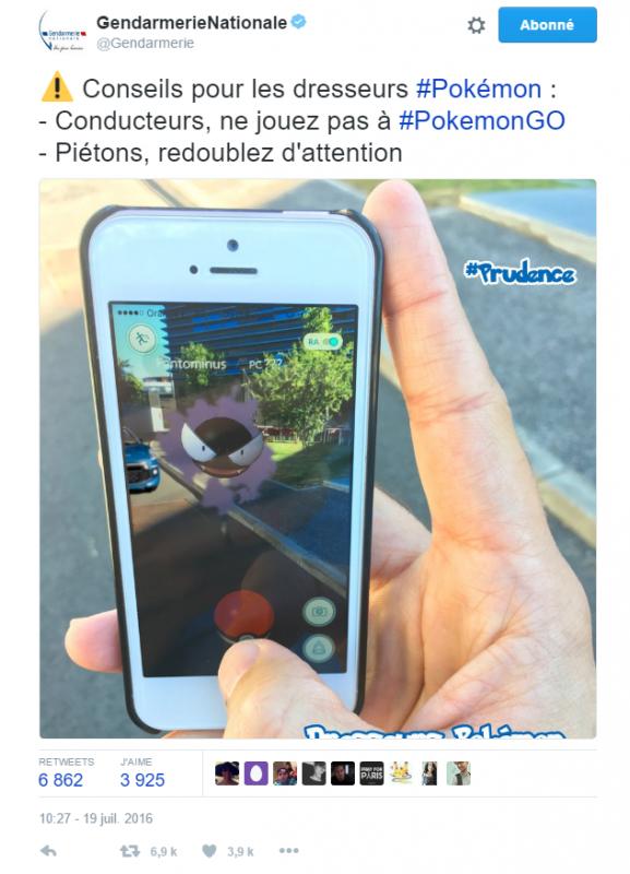 #Info : La Gendarmerie nationale prévient les joueurs de #PokémonGo