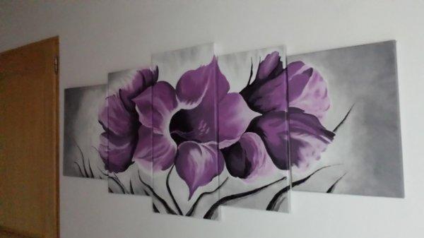 superbe toiles fleurs en 5chassis