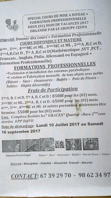 Jeudi 06 Juillet 2017: ANNONCES JOBS, EMPLOIS, BOURSES, STAGES, FORMATION ET AUTRES