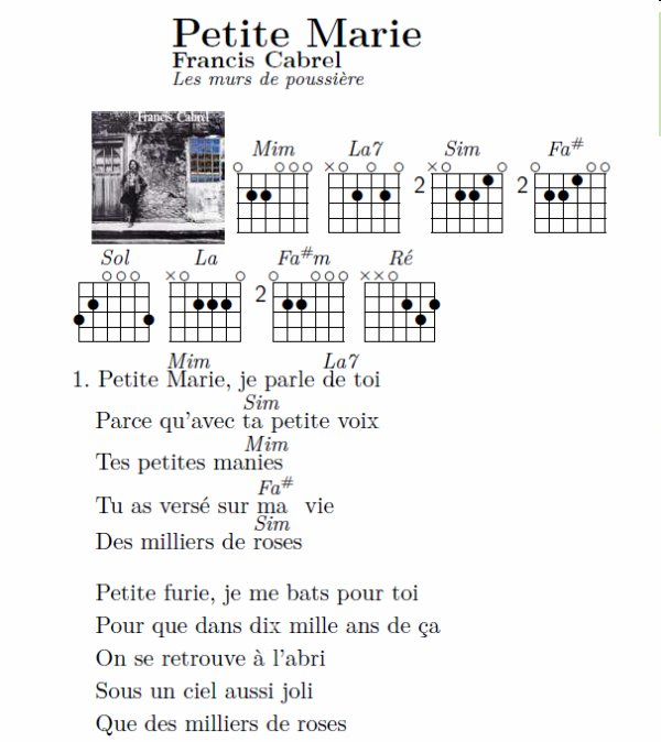 partition guitare marie
