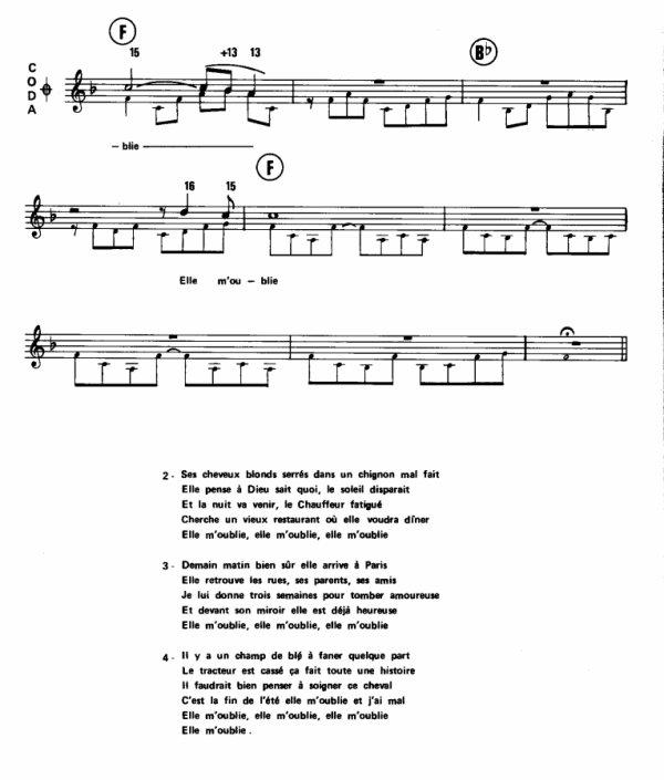 Johnny Hallyday - Elle m'oublie, (8), Tablature.skyrock.com, Elle m'oublie tablature, Elle m'oublie grille d'accords, Elle m'oublie vidéo, Elle m'oublie paroles.