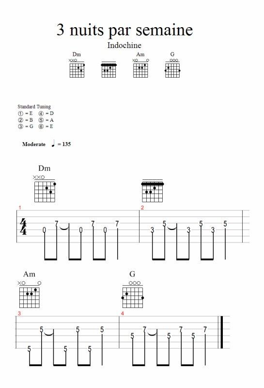 partition guitare indochine 3 nuits par semaine