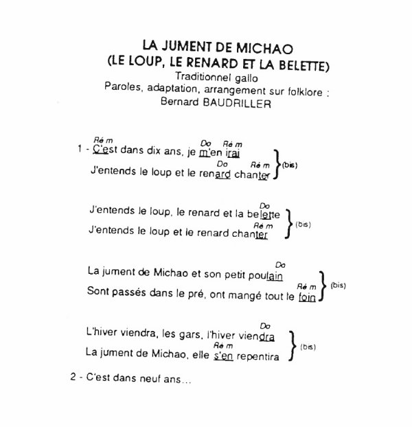 La jument de Michao, Try Yann, (153), La jument de Michao texte accords, La jument de Michao video,