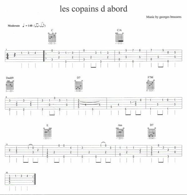 partition guitare gratuite les copains d'abord