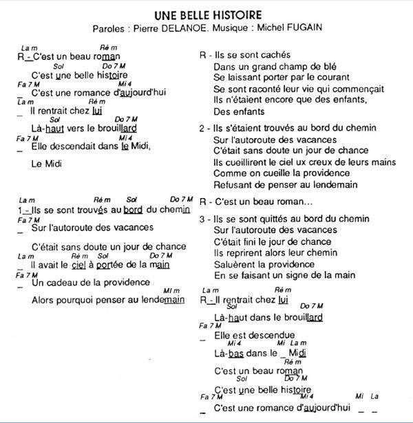 Une belle histoire, Michel Fugain, (160), Une belle histoire tablature, Une belle histoire vidéo, Une belle histoire Paroles et accords de la chanson