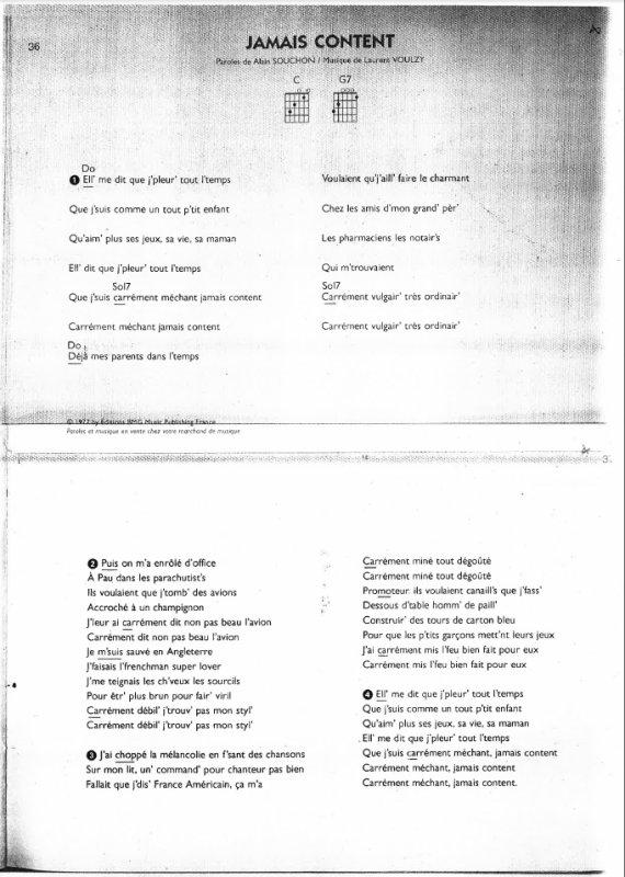Jamais content, Alain Souchon, (217), Jamais content texte et Accords,