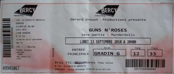 Don't cry, Guns N'Roses, (224), Don't cry ticket, Don't cry tablature gratuite, Don't cry vidéo, Don't cry paroles