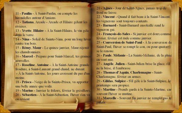 Dictons et proverbes du mois de Janvier, (231),