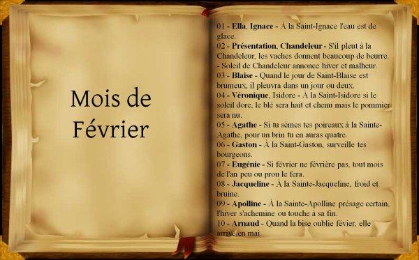 Dictons et proverbes du mois de février, (232),