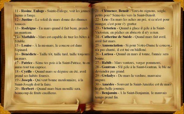 Dictons et proverbes du mois de mars, (233),