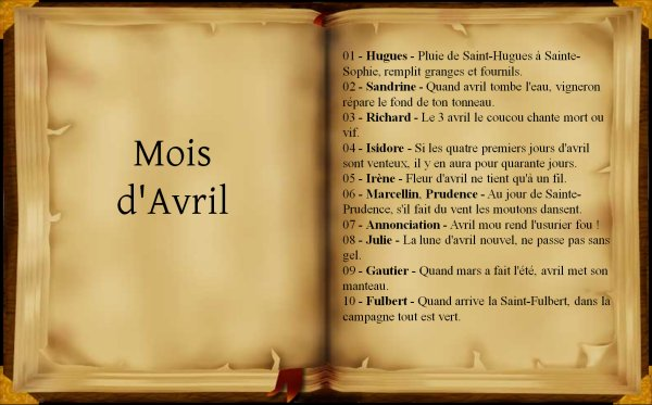 Dictons et proverbes du mois de Avril, (237),