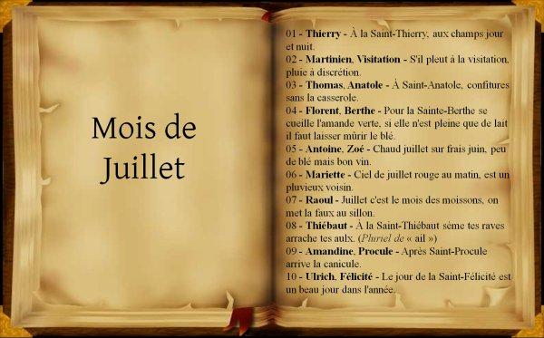 Dictons et proverbes du mois de Juillet, (251),