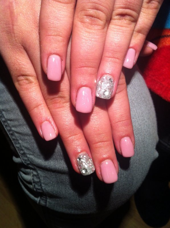 Nails pink et argentés