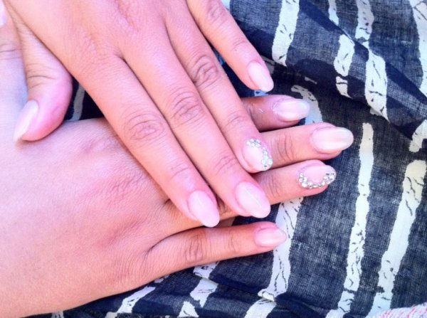 Nails nude strass