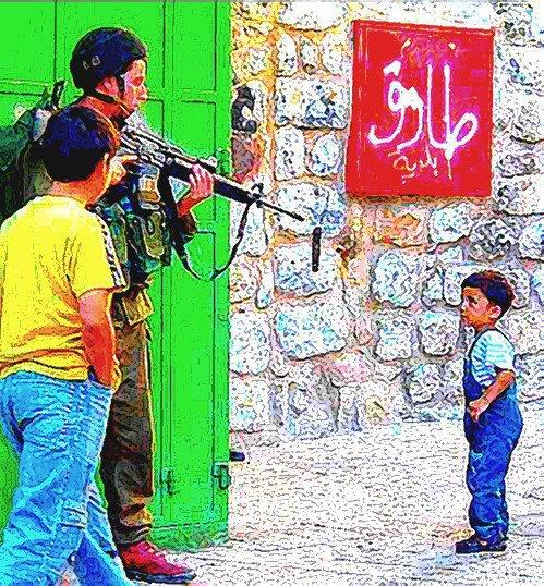 Tu auras beau faire le fou, le bonhomme avec ta bande dans le quartier,  tu n'auras jamais le courage d'un petit Palestinien.. !