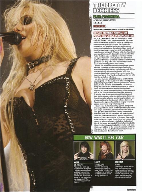Scans du magazine britannique « Kerrang » du mois de Janvier