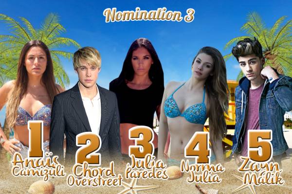 • Nomination 3 : Anais VS Chord VS Julia VS Norma VS Zayn •