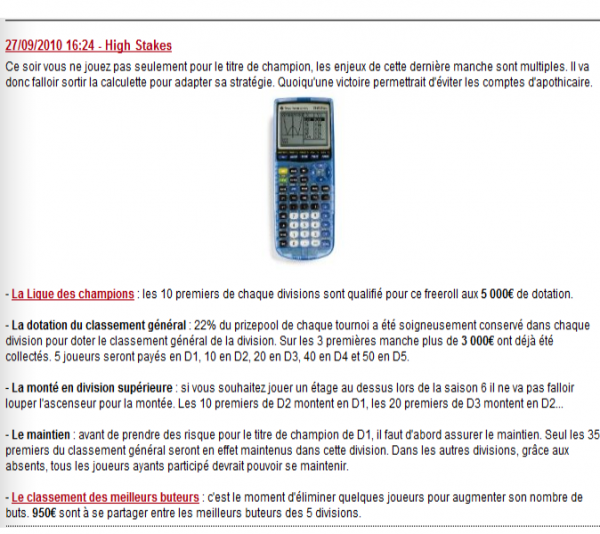 ligue winamax   (explications, récompenses et calcul