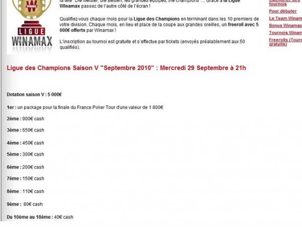 dotation ligue des champions 2010 winamax