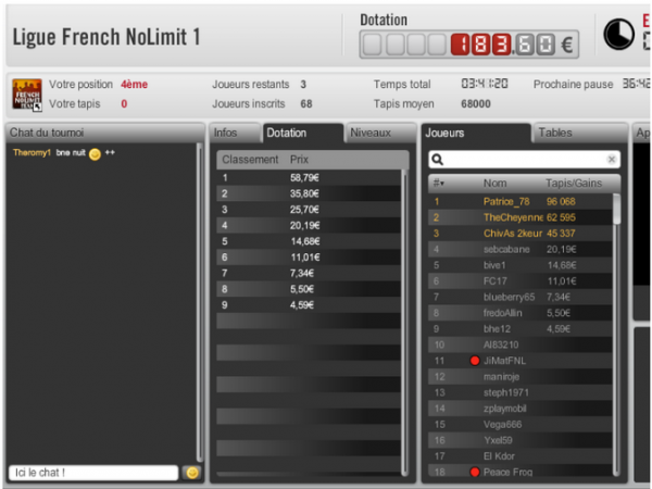Apres 3 jours sans poker   bon retour  Table Finale  de la FNL 1