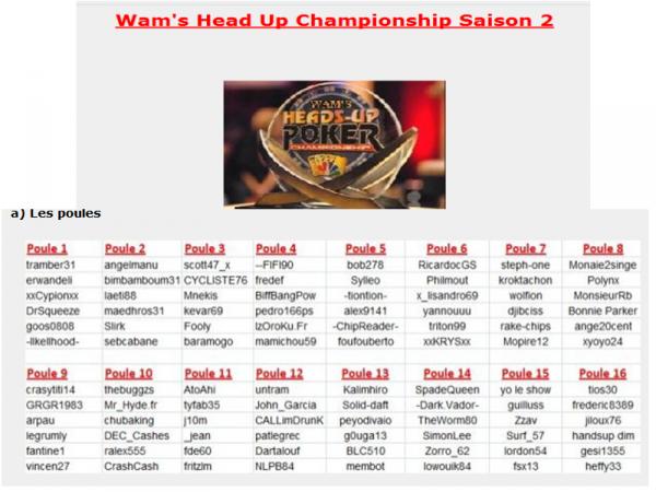 APRES avoir terminé 2e/1376 en FNL, APRES avoir participé a 2 ligues des champions, APRES avoir remporté un free major, APRES avoir obtenu un package pour la finale FPT a paris, Apres avoir terminé 4e/1450 a la ligue Wam FPT 2009, et apres avoir fait de nombreuses TF(etc etc peux pas tt noter la),et APRES avoir terminé 2e/100 a la Battle team SEBCABANE se lance un nouveau défi LE WAM'S H.U CHAMPIONSHIP
