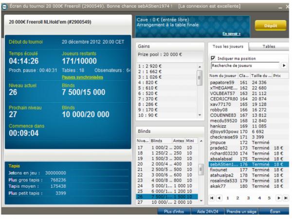 176e/10 000 sur Pmu Poker (+18¤  belle place, je m envoi en l' air avec J3 a coeur   quel c...)