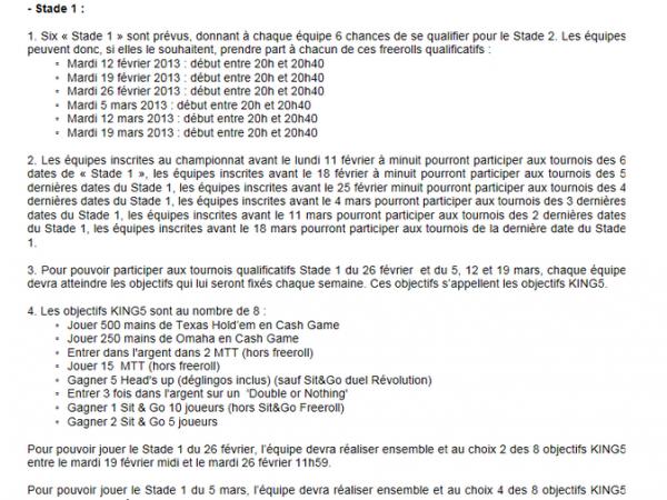Dates  du K5 stade 1
