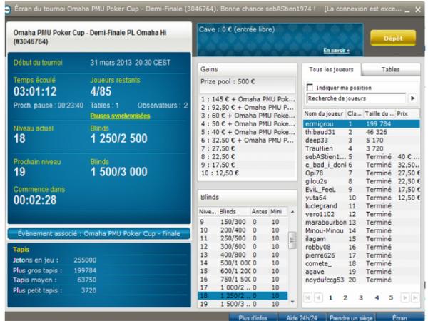 Une perf synonyme de qualif pour la finale de la Omaha PMU poker Cup (1 package World Poker Tour à la clé)