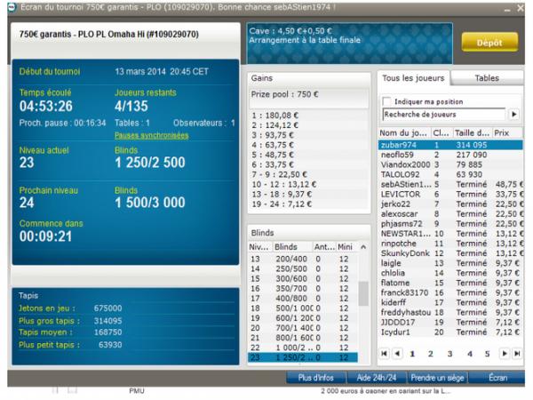 j' ai fais 5 Tables Finale en 14 jours !!!! pour un total de 165¤ !!!  5/135  8/178  4/224 6/259  7/253